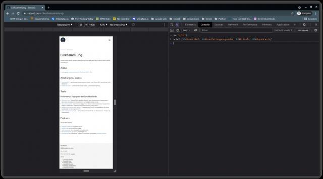 Google Crome Browser mit aktivierter Browser Konsole, in der ein Xpath Ausdruck zu sehen ist