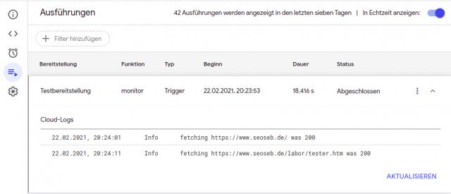 Abgefragte URL und Status-Code der Response in einem Auszug aus den Logs