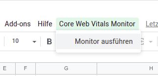 Menüeintrag im Google Spreadsheet zum Starten der Monitoring-Funktion
