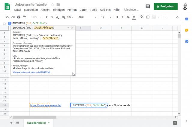 Screenshot von Google Sheets mit der Funktion IMPORTXML() und der zugehörigen Hilfe