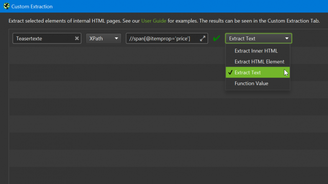 Screenshot des Custom Extraction Dialoges im SEO Spider