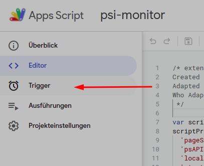 "der Menüeintrag ""Trigger"" im Menü des Apps Script Editors"