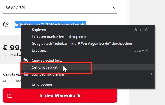 Screenshot des Kontext-Menüs in Chrome mit dem Eintrag _Get unique XPath_