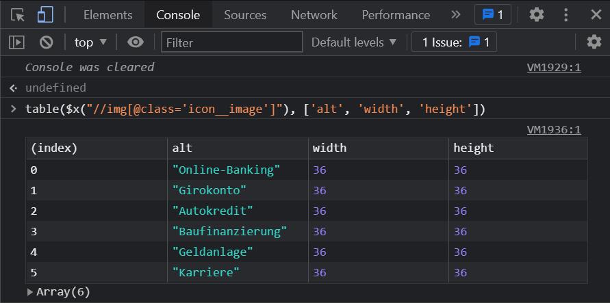 Die Ausgabe von Informationen aus XPath-Abfragen in einer Tabelle auf der Chrome Dev-Console