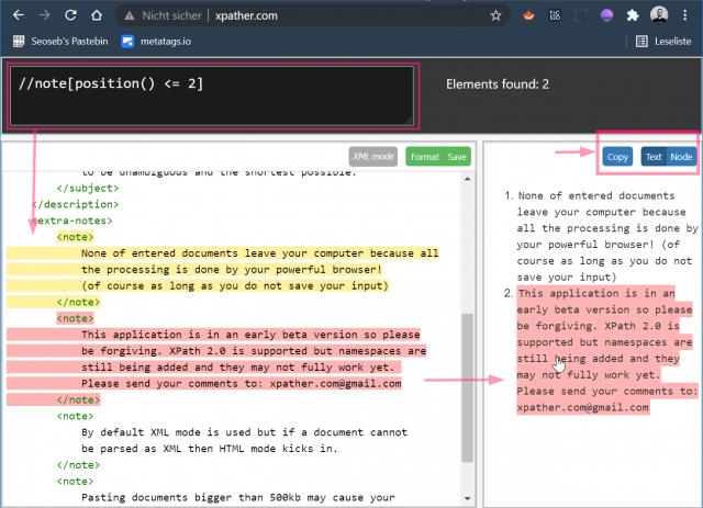 Screenshot von xpather.com mit markiertem Quelltext und dem zugehörigen Xpath-Abfrage-Ergebnis